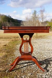 Antique Duncan Phyfe Style American Federal Mahogany Game Card Table Harp Lyre