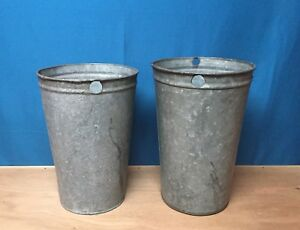 2 Antique Galvanized Maple Syrup Sap Buckets 13 Tall Crafts Decor