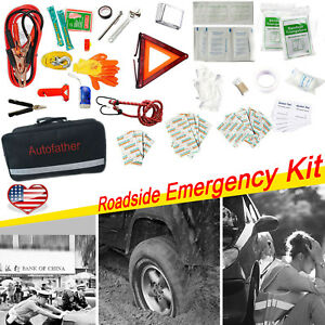 Emergency Roadside Automobile Assistance Kit Aid 123 Piece Set For Car Truck Suv