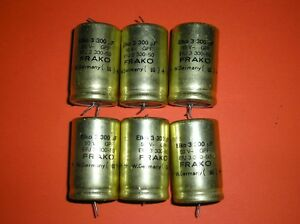 Lot Of 6 Eico 300uf 50v Axial Electrolytic Aluminum Capacitor Germany Tested