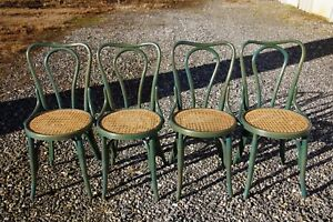 Set 4 Antique Thonet Style Bentwood Heavy Cane Woven Seat Parlor Bistro Chairs