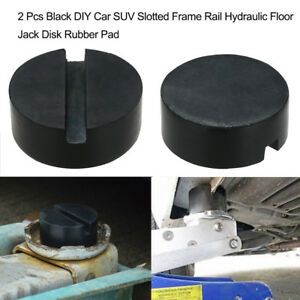 2 Pcs Universal Car Slotted Frame Rail Floor Jack Disk Rubber Pad Adapter G5w3