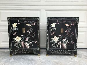 Antique Asian Black Lacquer Cabinets Pair Soapstone Flowers