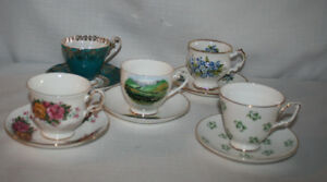 Lot Of 5 Mix Collectors Bone China Cups Saucer Made In England