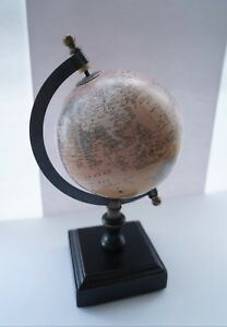 Vintage Globe Brass Frame Desk D Cor Antique Collectible Height 10 5inch