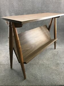 Mid Century Danish Modern Walnut Leg Formica Book Shelf Console Table