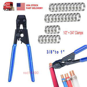 Us 3 8 To 1 Steel Pex Pipe Cinch Crimping Tool With 1 2 And 3 4 Clamps Kit