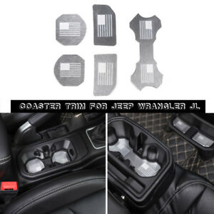 Water Cup Holder Mat Pad Decorative Pieces Cover For Jeep Wrangler Jl 2018 Metal