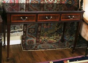 Superb Shallow Satinwood Banded Mahogany 3 Drawer Console Sofa Table Mint