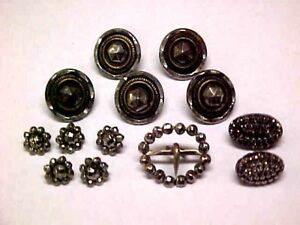 Antique Vtg Cut Steel Buttons Lot Faceted Tiny Doll Flower Buckle