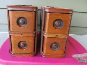 Vintage Singer Treadle Sewing Machine Drawers With Frames Hooks Set Of 4