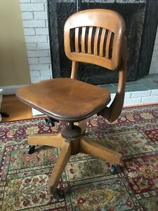 Antique Vintage Arts Crafts Deco Mid Century Oak Swivel Office Chair Sikes Old