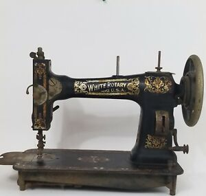 Vintage Antique White Rotary Made In Usa Sewing Machine 1910s Art Deco Decorate