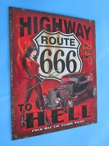 Tin Metal Gasoline Service Station Man Cave Advertising Decor Gas Oil Hwy Rt 666