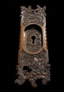 Antique Pocket Door Pull Plate Cast Bronze Reading Belfort Ornate Vintage