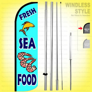 Fresh Seafood Windless Swooper Flag Kit 15 Feather Banner Sign Bq113 h