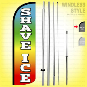 Shave Ice Windless Swooper Flag Kit 15 Feather Banner Sign Rainbow Q02 h