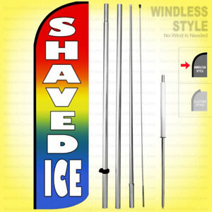 Shaved Ice Windless Swooper Flag Kit 15 Feather Banner Sign Rainbow Q019 h