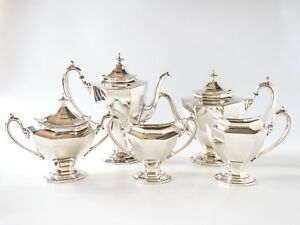 Antique Reed Barton Sierra Tea Set Coffee Service Silverplate 3690