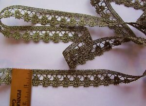 Vintage Gold Genuine Metallic Lace Trim For Antique Doll Clothes Crafts