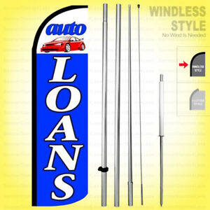 Auto Loans Windless Swooper Flag Kit 15 Feather Banner Sign Bq h