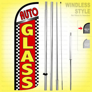 Auto Glass Windless Swooper Flag Kit 15 Feather Banner Sign Rq17 h