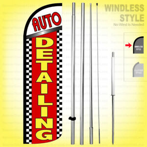 Auto Detailing Windless Swooper Flag Kit 15 Feather Banner Sign Rq16 h