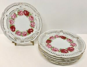 Set Of 6 Schwarzenhammer Reticulated 6 3 4 Plates Pink Roses Exc