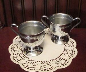 Vintage Classic Silver Plated Sugar Bowl And Creamer Set Beautiful Shine
