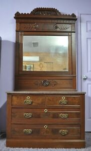 Victorian Eastlake Walnut Marble Top Dresser W Beveled Mirror