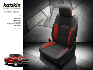 2019 2020 Ram Crew Cab Big Horn Katzkin Black Red Wings Leather Seat Covers 2pc