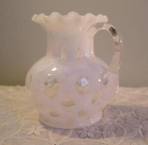 Antique White Opalescent Glass Pitcher Applied Handle Coin Dot Pattern Htf 4