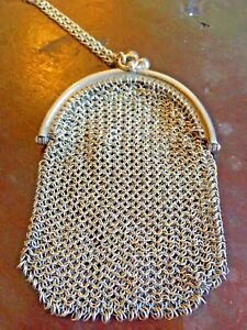 Antique Sterling Silver Purse Mesh Chain Mail Ladies Coin Purse