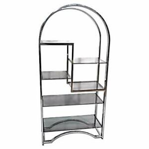 Milo Baughman Chrome Arched Top Etagere Smoked Glass Shelves Mid Century Modern