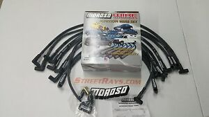 Moroso Sbc 305 350 Spark Plug Wires Hei 90 Deg Boots Over Valve Cover sleeved