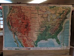 Vintage Denoyer Geppert Relief Like Series United States Classroom Pull Down Map