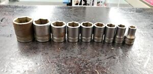 9 Piece Add on Snap on Tools Usa 1 2 drive Sae 6 Point Shallow Socket Tw Lot Set