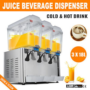 54l Hot Cold Drink Juice Beverage Dispenser Stainless Steel 380w 1530w Jet Spray
