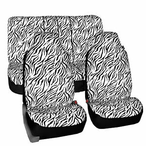 Universal Highback Seat Covers Full Set White Zebra Design For Cars