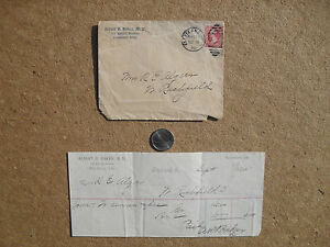 Antique 1895 Doctor Invoice With Envelope Cleveland Ohio Dr Baker R E Alger Nice