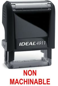 Non Machinable Stamp Text On Ideal 4911 Self inking Rubber Stamp With Red Ink