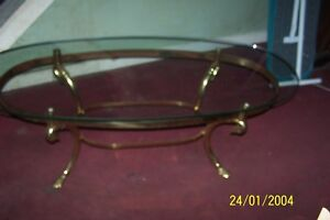 Vintage Italian Brass Swan Oval Cocktail Coffee Table Beveled Glass Pa Pickup