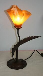 Modern Art Deco One Light Wrought Iron Table Lamp Glass Tulip Post 1940 Tlc