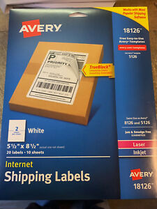 Avery 18126 Internet White Shipping Labels 5 5 X 8 5 Laser Inkjet 8126 5126