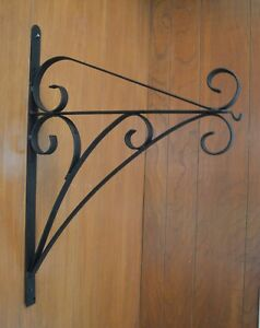 Vintage Wrought Iron Scroll Wall Bracket Hanger Hook For Plant Light Or Lamp