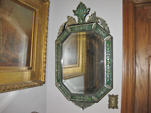 Pair 19th Cent Ornate Venetian Mirrors
