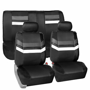 Universal Fit Leather Seat Covers Full Set For Car Suv Van Auto Gray Black