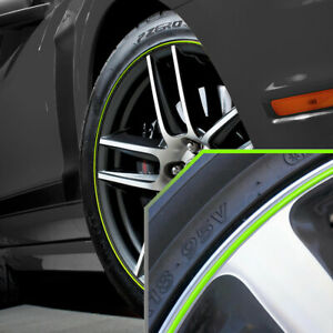 Wheel Bands Neon Green In Silver Pinstripe Rim Trim For Ford Mustang Full Kit