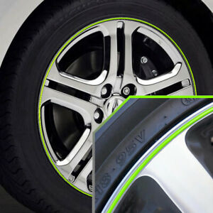Wheel Bands Neon Green In Silver Rim Edge Protector For Acura Full Kit