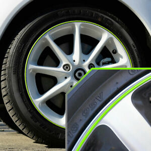 Wheel Bands Neon Green In Silver Pinstripe Rim Trim For Smart Fortwo Full Kit